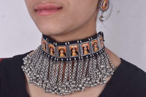 Classic Durga maa tribal necklace with black dori and earrings