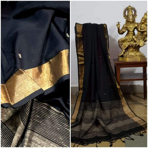 Black handloom dupatta with gold and geecha borders