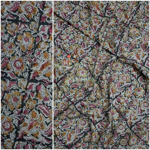 Khaki color handloom cotton kalamkari blouse fabric