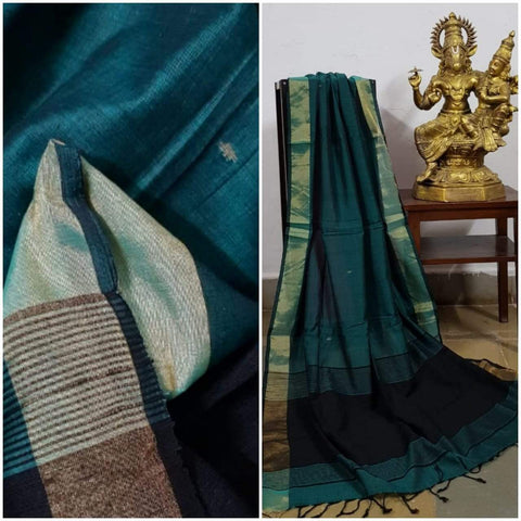 Teal Green handloom dupatta with gold borders and contrasting black borders