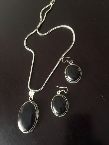Silver toned Drop Pendant set with Black Cut stone & ear rings