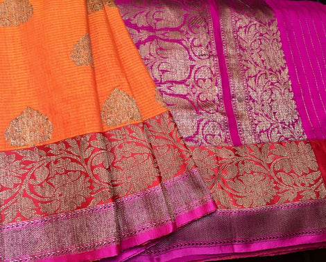 Orange Colored Banarasi Dupion Silk Saree