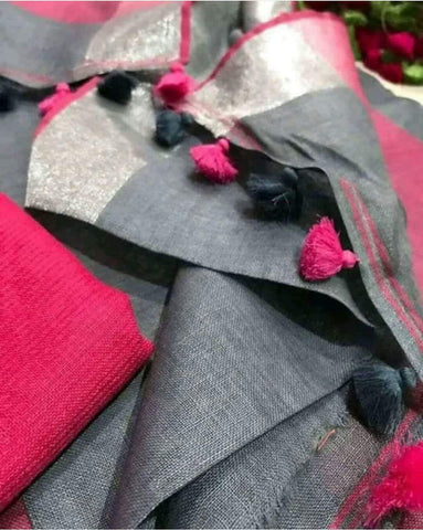 Grey with Pink Linen Saree