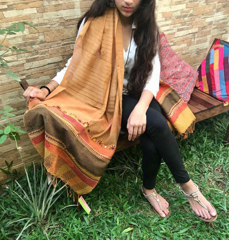 Mustard Embroidery Cotton Stole