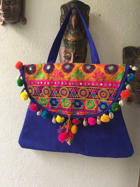 Blue Kutch Bag With Thread Works