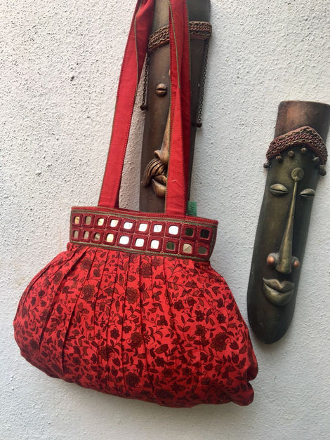Red Cotton Shoulder Bag With Mirror work