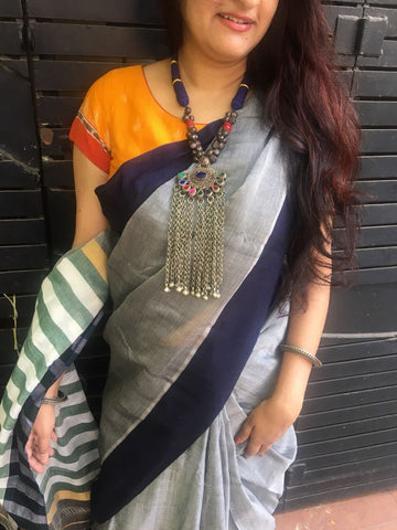 Dolphin Grey with Dark Blue Border narayanpet Cotton Saree