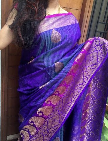 American Purple Colored Banarasi Silk Saree