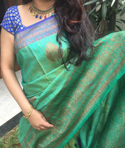 Bud Green Colored Banarasi Silk Saree