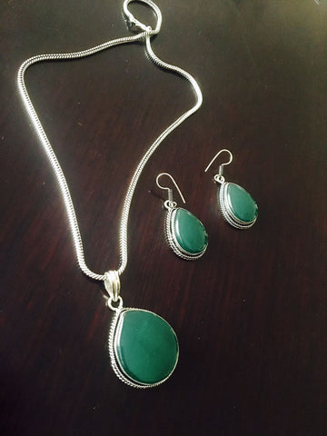 Silver toned Drop Pendant set with Green Cut stone & ear rings