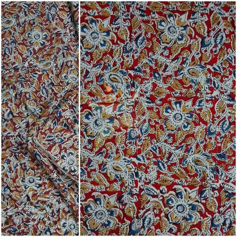 Maroon handloom cotton kalamkari blouse fabric