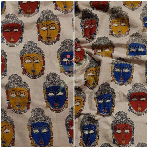 Beige handloom cotton kalamkari blouse fabric
