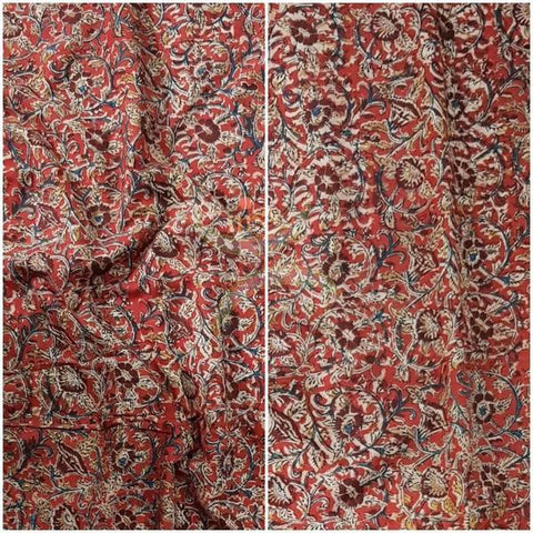Tomato Red handloom cotton kalamkari blouse fabric