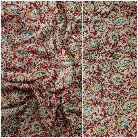 Dark Red handloom cotton kalamkari blouse fabric