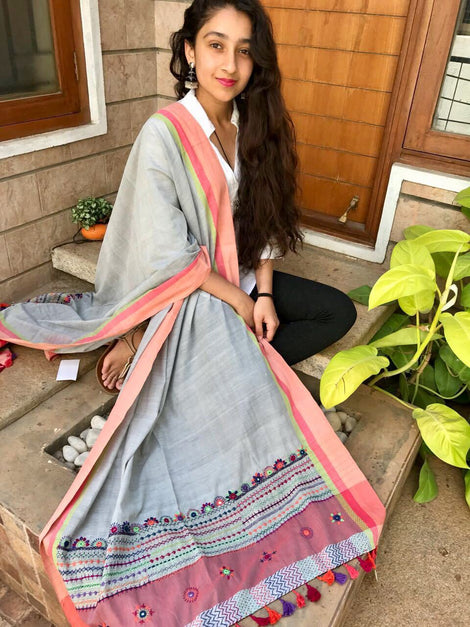Grey Cotton Dupatta