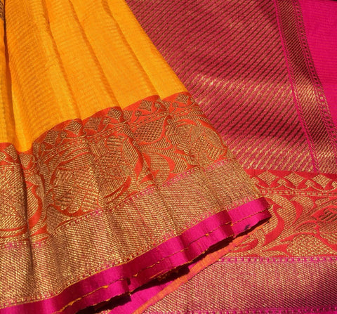 Yellow Colored Banarasi Dupion Silk Saree