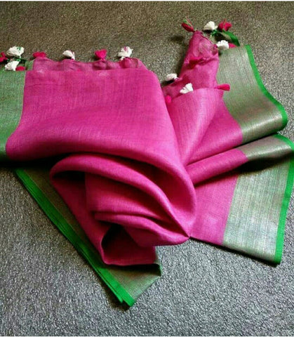 Pink with Green Linen Saree