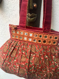 Maroon Cotton Shoulder Bag With Mirror work