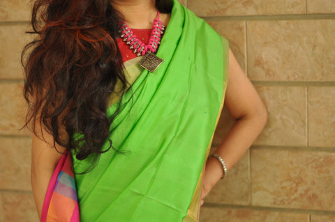 Parrot green with pink khadi soft silk saree