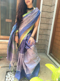 Handwoven Bright Bluish Grey Linen Saree with contrast border