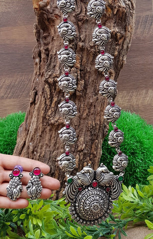 Long Haram set with Dancing peacocks and round pendant with earrings