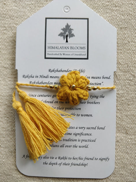 Yellow Small Embozed Flower Rakhi