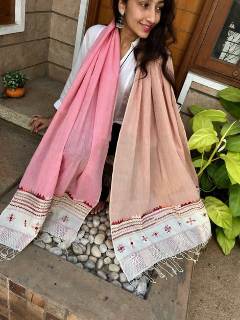 Light Pink and Beige Cotton Dupatta
