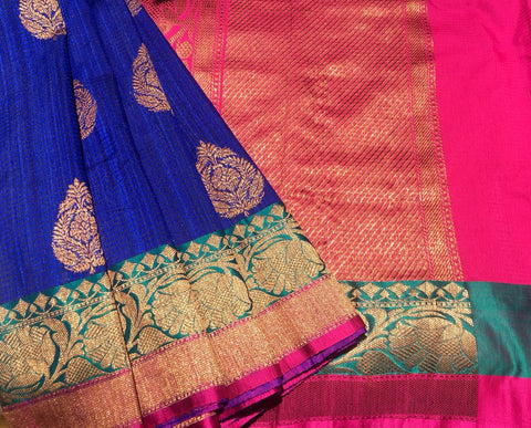 Navy Blue Colored Banarasi Dupion Silk Saree
