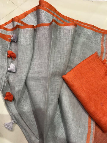 Grey with Orange Linen Saree