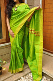 Parrot Green Raw Silk Saree