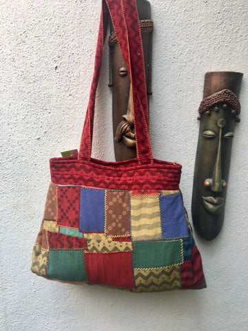 Red and Black Striped Cotton Hand Bag With Mirror work