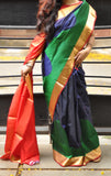 Navy blue with green khadi mulberry silk saree