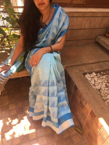 Light Blue Hand woven Linen Saree