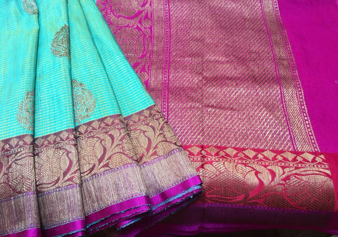 Light Green Colored Banarasi Dupion Silk Saree