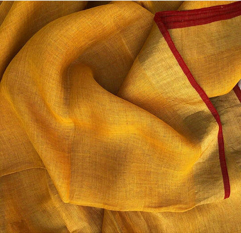 Mustard with Red Linen Saree