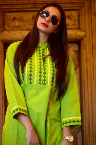 Parrot Green Kurta with Applique Work