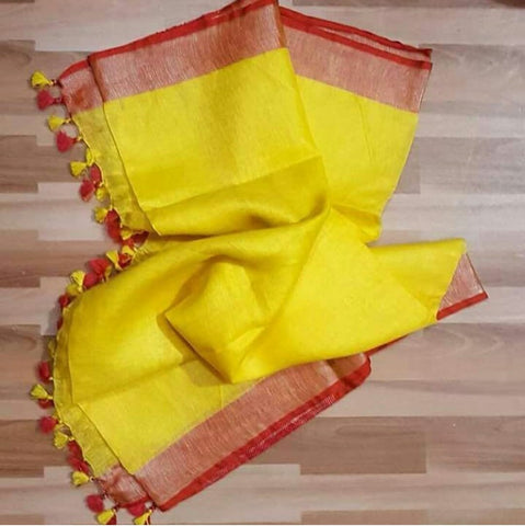 Yellow with Red Linen Saree