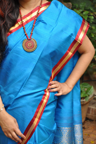 Skyblue Khadi Soft Silk Saree