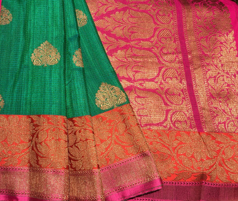 Dark Green Colored Banarasi Dupion Silk Saree
