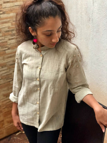 Grey Khadi Cotton Shirt with Embroidery work