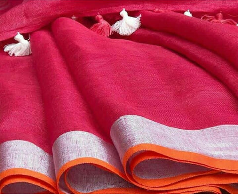 Peachish pink Linen Saree
