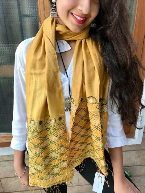 Yellow Embriodery Silk Stole