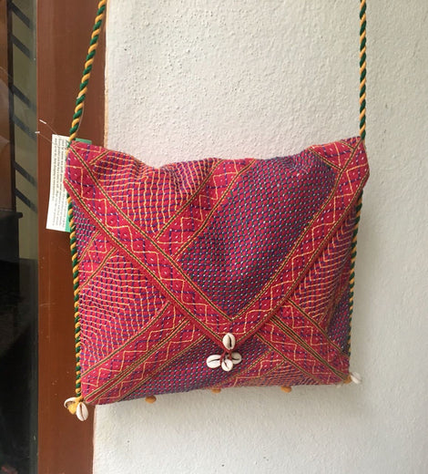Maroon Sling Bag With Thread Works