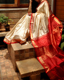 Off-White With Red Khadi Mulberry Silk Saree