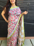 White with Pista Green Chanderi Cotton Silk Saree