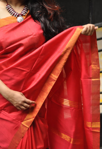 Red khadi soft silk saree