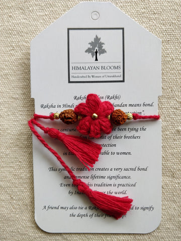 Red Small Embozed Flower Rakhi with Rudraksha beads