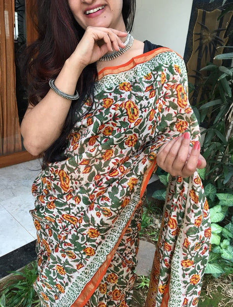 White with Orange Chanderi Cotton Silk Saree