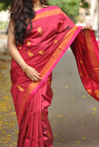 Maroon khadi soft silk saree