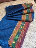 Lambani embroidered ink blue with tri color border Kana blouse